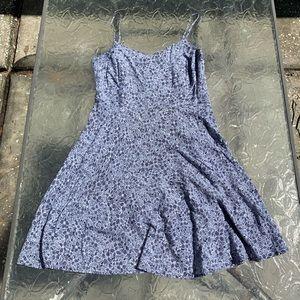 Blue Floral Print Tank Top A-Line Dress